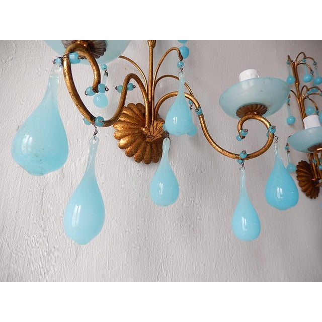 1920s French Blue Opaline Bobeches Drops & Beads Sconces - a Pair For Sale - Image 6 of 12
