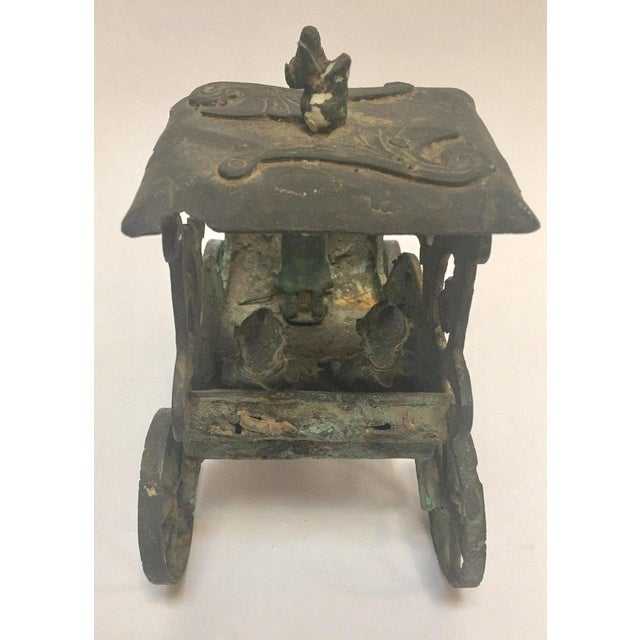 Antique Asian Bronze Chariot With Dragon Head Pulled by Horses For Sale - Image 10 of 13