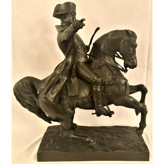 Antique 19th Century French Bronze Statue of Napoleon on Horseback Signed by Noted Sculptor, Alexandre Falguiere (1831-1900). For Sale In New Orleans - Image 6 of 6