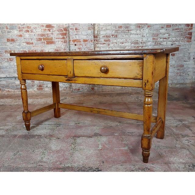 19th Century Rustic Pine Farm Console Table   Chairish