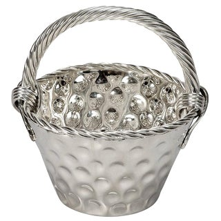 Mid-Century Hammered Nickel Plated Tall Handled Basket For Sale
