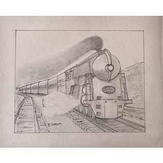 Vintage Art Deco Steam Locomotive NY Drawing For Sale