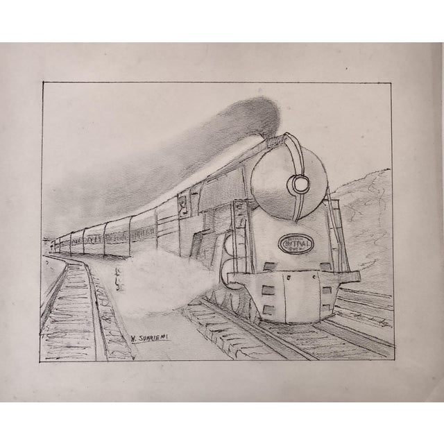 Vintage Art Deco Steam Locomotive NY Drawing - Image 1 of 5