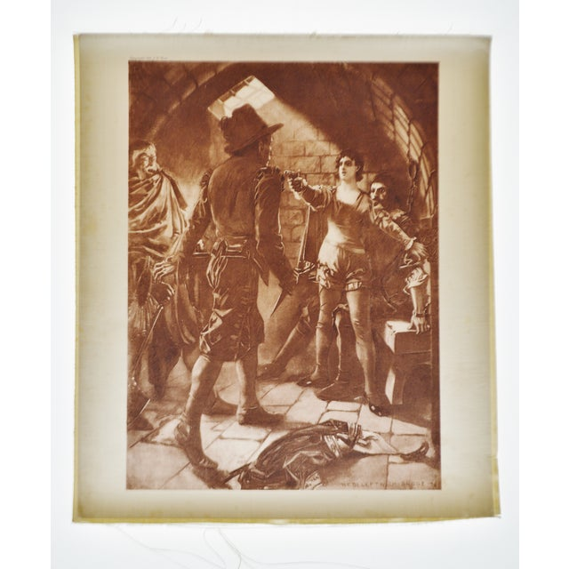 This is a 1899 photogravure on linen of a painting by William de Leftwich Dodge that portrays Leonore holding a gun to Don...