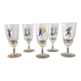 Unique Barware Glasses With Dancers - Set of 5 For Sale