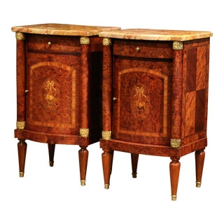 Pair of 19th Century Empire Bombe Burl Walnut Nightstands With Red Marble Top For Sale
