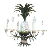 Image of 6-Light Painted Tole Pineapple Chandelier For Sale