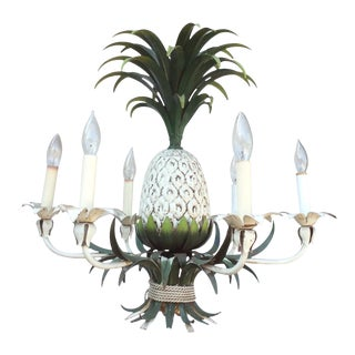 6-Light Painted Tole Pineapple Chandelier For Sale