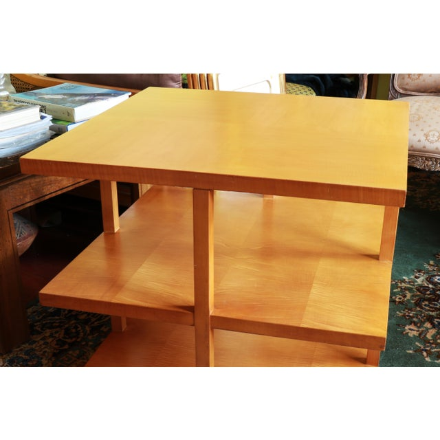 Baker Furniture Company 1960s Baker Classic 3-TierTiger Maple Side Table For Sale - Image 4 of 10