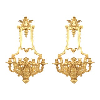 French Louis XV Style Gilt Bronze Wall Sconces For Sale