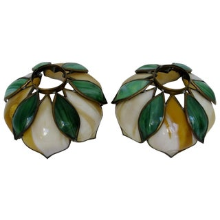 Art Nouveau Stained Glass Shades - A Pair For Sale