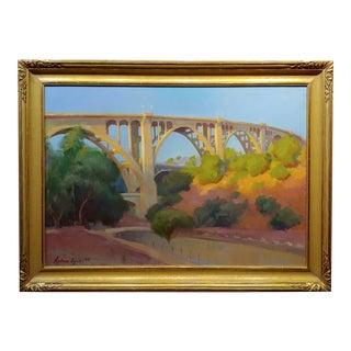 "Arthur Bjorn Egeli ""The Pasadena Suicide Bridge"" Impressionist Oil Painting For Sale"