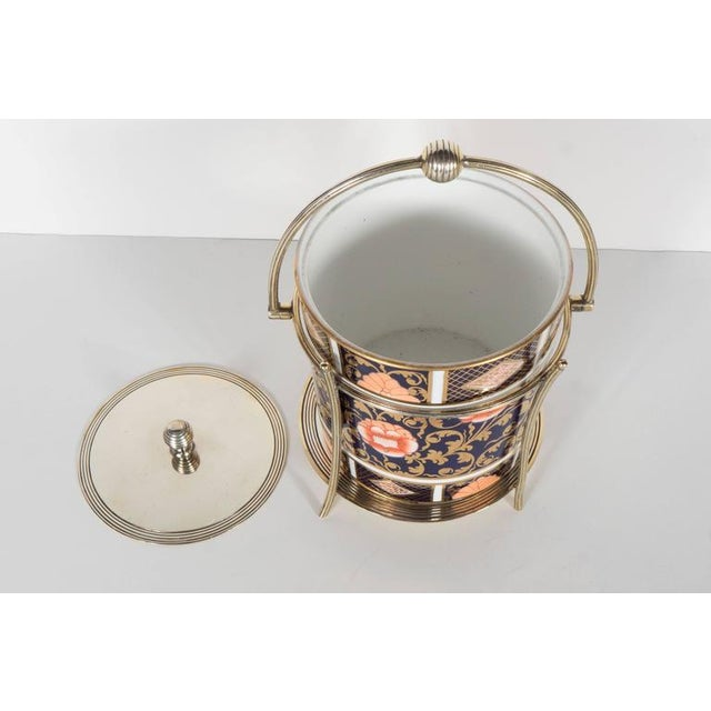 English Traditional Antique English Biscuit Holder in Porcelain and Silver Plate by Spode For Sale - Image 3 of 11