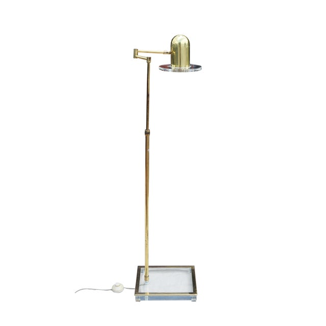 Lucite and Brass Reading Floor Lamp - Image 1 of 3