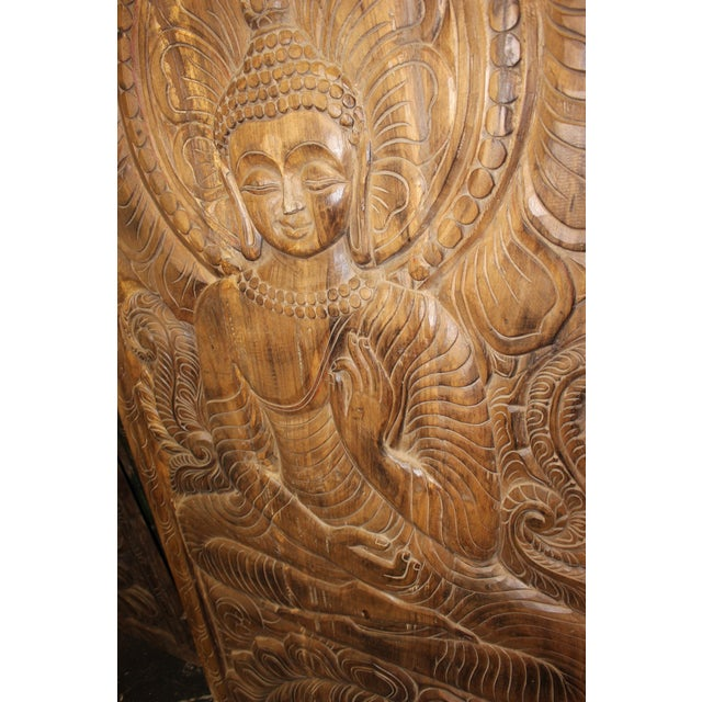 Wood 1990s Vintage Hand Carved Buddhism Panel For Sale - Image 7 of 8