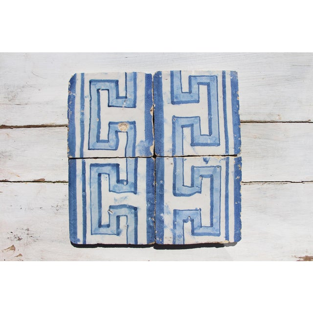 This original antique, set of 4 Greek style Baroque tiles, were made in Portugal in the period (1706–1750)! This tiles are...