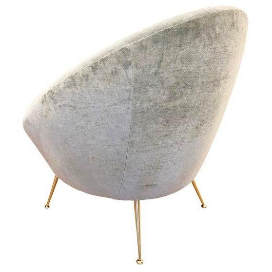 1950s Italian Mid-Century Round Velvet Lounge Chair For Sale - Image 5 of 7