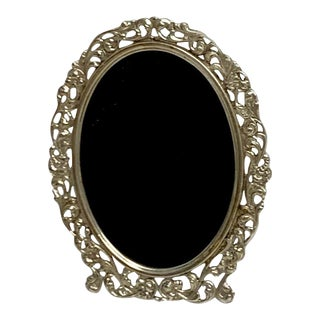 Diminutive Continental Pierced Sterling Oval Frame For Sale
