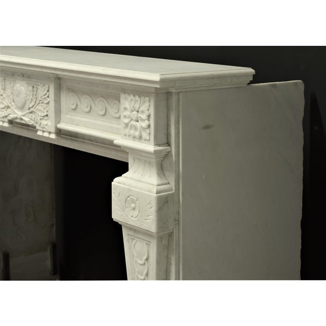 Mid 19th Century Very Rich Carved White Marble Louis XVI Fireplace For Sale - Image 5 of 6