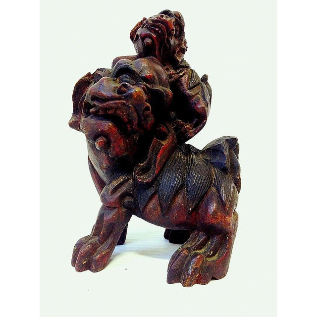 19th Century Chinese Carved Foo Dogs - 3 - Image 8 of 9