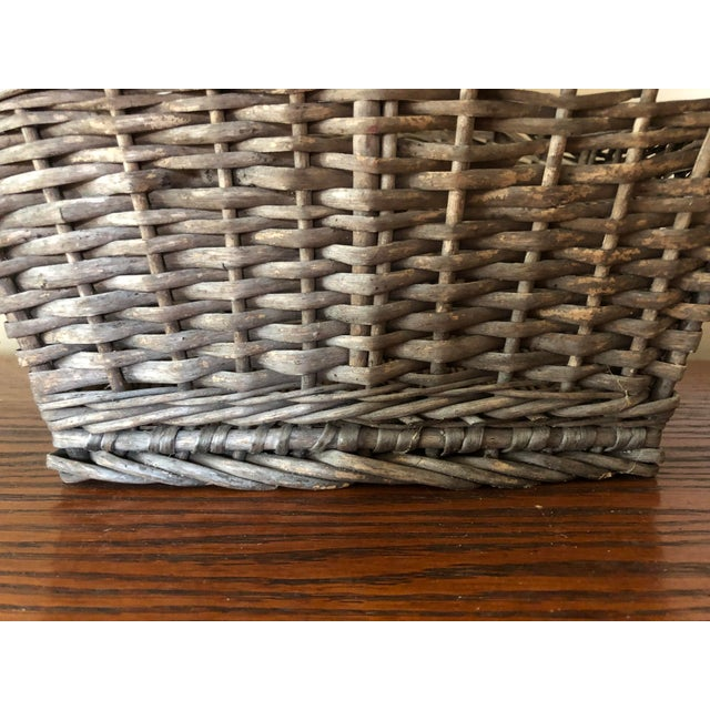 Antique Wicker Basket With Handle For Sale - Image 9 of 12