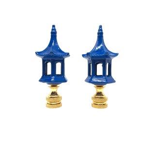 Royal Blue Chinoiserie Pagodas Lamp Finials - A Pair