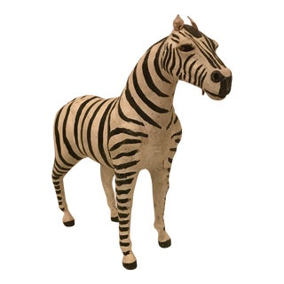Small Hand Painted Leather Zebras For Sale