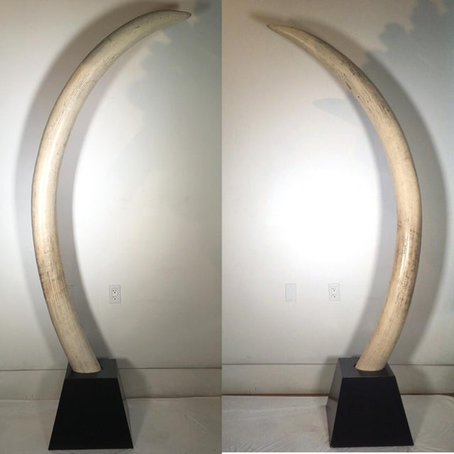 Pair of Mid-Century Monumental Faux Wooden Elephant Tusks, circa 1960s-1970s - Image 2 of 8