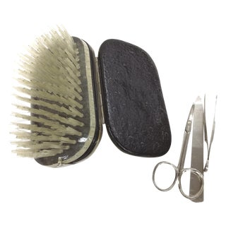 German Silver & Ostrich Grooming Travel Kit For Sale