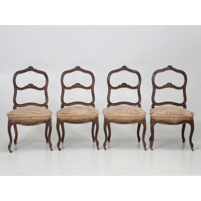 French Antique Carved Parlor Chairs - Set of 6 For Sale - Image 10 of 12