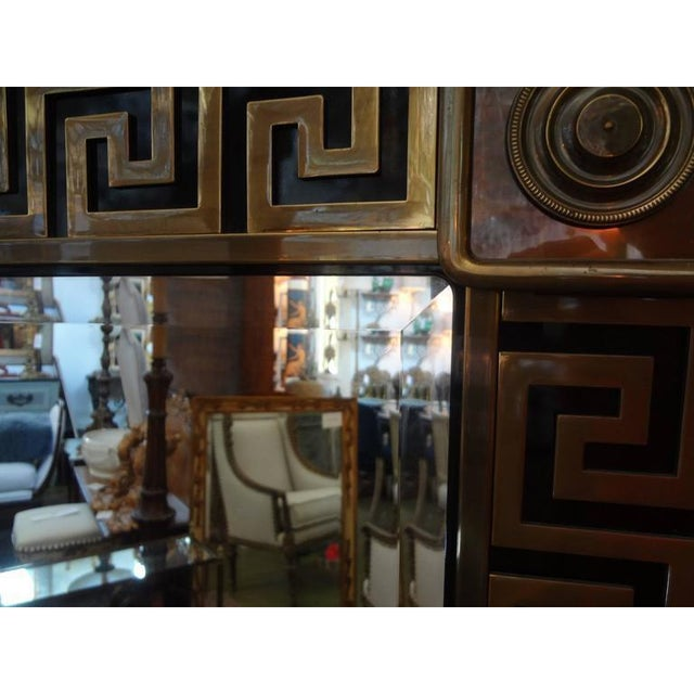 Mastercraft Mastercraft Brass Greek Key Beveled Mirror For Sale - Image 4 of 8