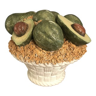 1960s Italian Porcelain Avocado Basket For Sale