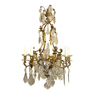 Antique Chandelier Gilt Bronze and Crystal For Sale