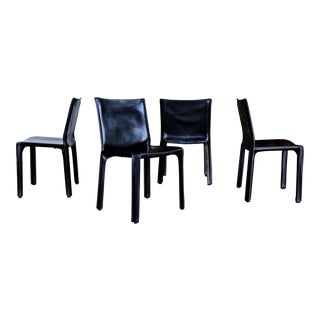 "1985 Mario Bellini Black Leather ""Cab"" Chairs for Cassina - Set of 4 For Sale"