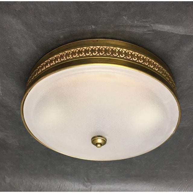 1990s Vaughan Hodnet Bowl Flush Mount Light Brass With Plain Frosted Glass For Sale - Image 5 of 5