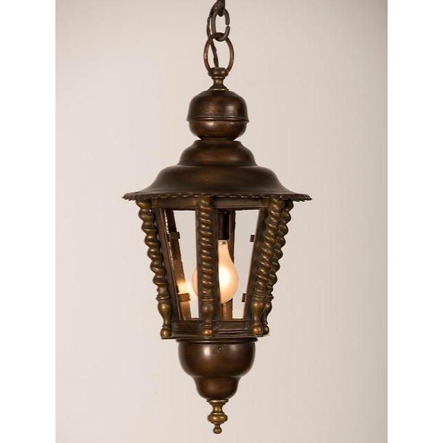 1920s Vintage Hexagonal Handsome Brass French Lantern For Sale - Image 4 of 7