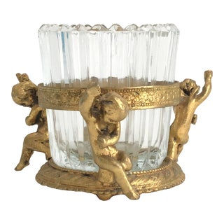 1960s Vintage Gilt Vanity Jar For Sale