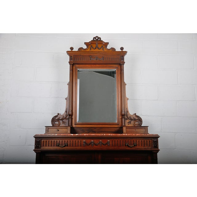 1900 - 1909 1900's French Walnut Vanity Dresser with Red Italian Marble Top For Sale - Image 5 of 13