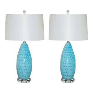 Galliano Ferro Vintage Murano Glass Table Lamps Blue For Sale