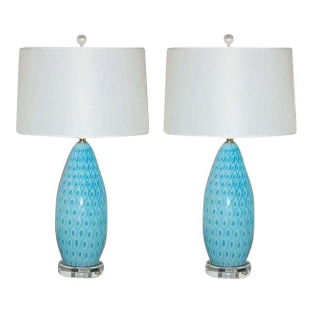 Galliano Ferro Vintage Murano Glass Table Lamps Blue For Sale