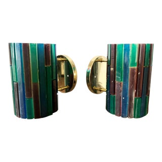 "Mid Century Thomas Industries Moe Light ""Fiesta"" Acrylic Mosaic Wall Sconces - a Pair For Sale"