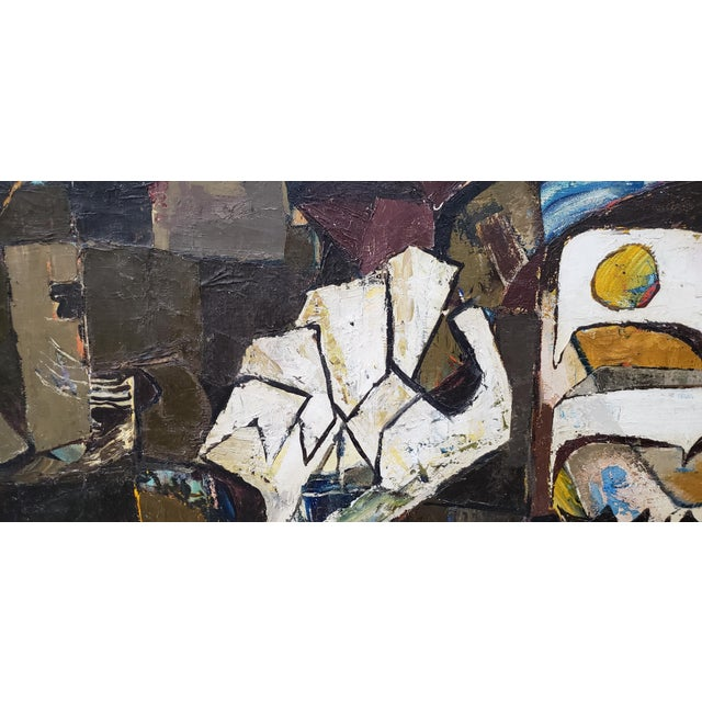Abstract Portrait of Boy With His Dog Painting C.1940 For Sale - Image 4 of 12