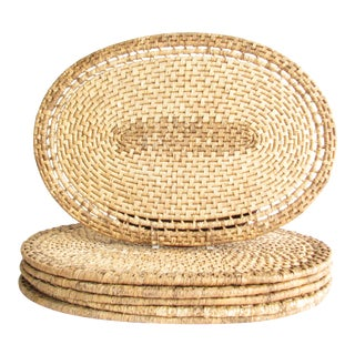 Vintage Oval Woven Rattan Placemats - Set of 6 For Sale
