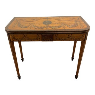 English Sheraton Satinwood Painted Card Table For Sale
