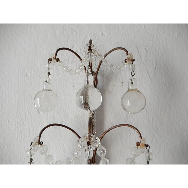 French French Rare Micro Beaded Murano Balls Sconces, circa 1920 For Sale - Image 3 of 8