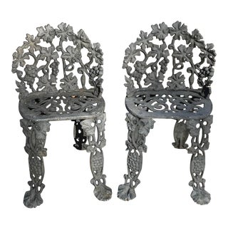 Vintage Cast Iron Garden Chairs - a Pair For Sale