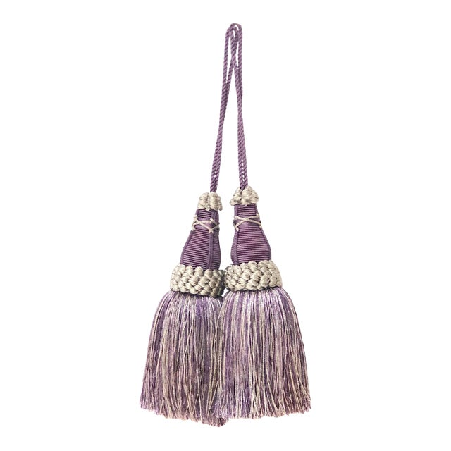Key Tassels in Amethyst and Gray With Ruche Trim - a Pair For Sale
