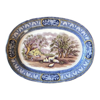 1920s Vintage English Booth Silicon China Blue English Country Plate For Sale