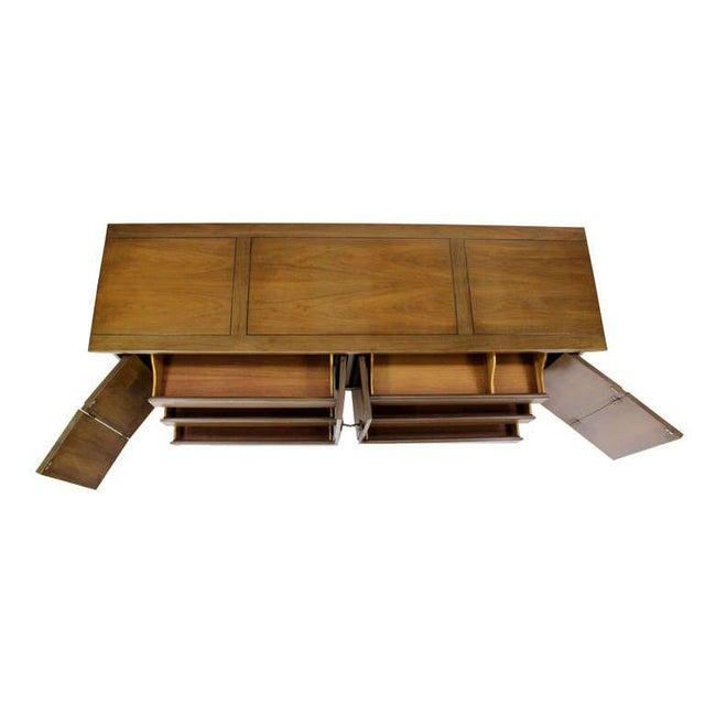 "Quality raftsmanship American mid century modern walnut burl wood dresser. Mirror Dimensions: 61x34""H"
