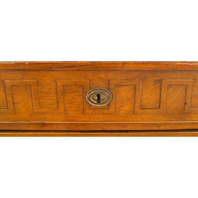 Neoclassical Pair of 19th Century Italian Neoclassical Fruitwood Three-Drawer Chests For Sale - Image 3 of 4